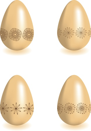 Set of four Easter eggs with floral ornament. illustration Vector