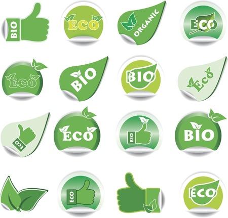 land mark: Conjunto de color verde BIO y ECO pegatinas. Ilustraci�n vectorial