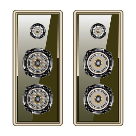speaker system: Audio del altavoz del sistema ac�stico de oro aisladas sobre fondo blanco