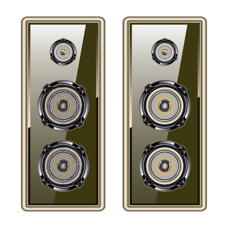 hi fi system: Audio speaker  Golden acoustic system  Isolated on white background Illustration