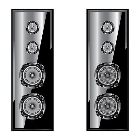 Altavoz de audio del altavoz del sistema acústico aislado sobre fondo blanco