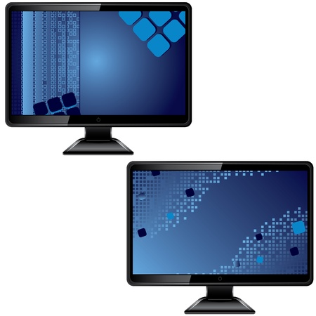 define: Black monitor with abstract screen isolated on white background