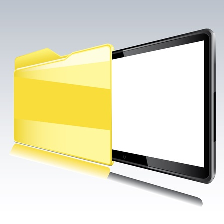 Folder with abstract monitor inside Isolated illustration