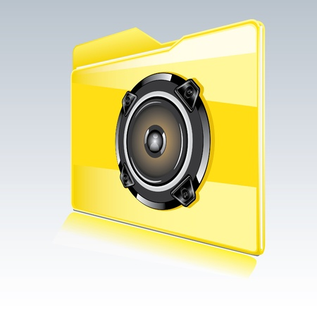 sub woofer: Folder with abstract audio speaker   Isolated  Vector illustration