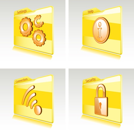 Set of folders with abstract icons for computer or smart phone  Settings, Connection, Help, Security Stock Vector - 12857320