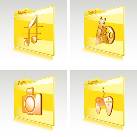 Set of folders with abstract icons for computer or smart phone  Music, video, games, photo Stock Vector - 12857318