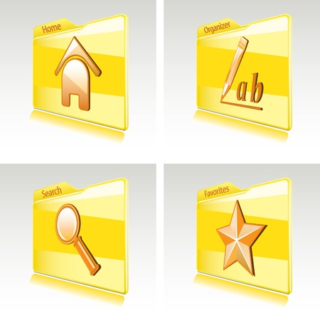 favoritos: Conjunto de carpetas con iconos abstractos de ordenador o Favoritos de tel�fonos inteligentes, hogar, organizador, b�squeda