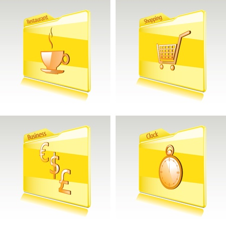 Set of folders with abstract icons for computer or smart phone  Business, restaurant, shopping, clock Stock Vector - 12857323