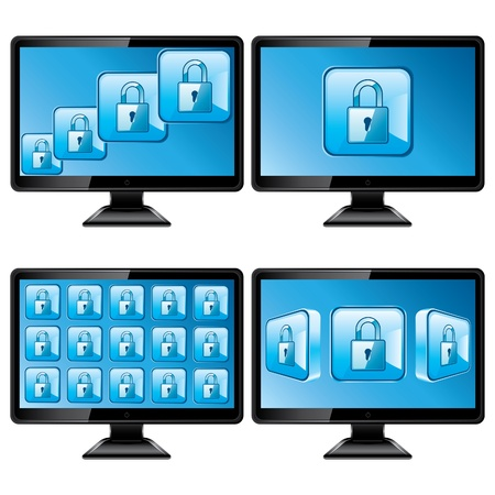 Black monitors with protect screen isolated on white background Stock Vector - 13059483