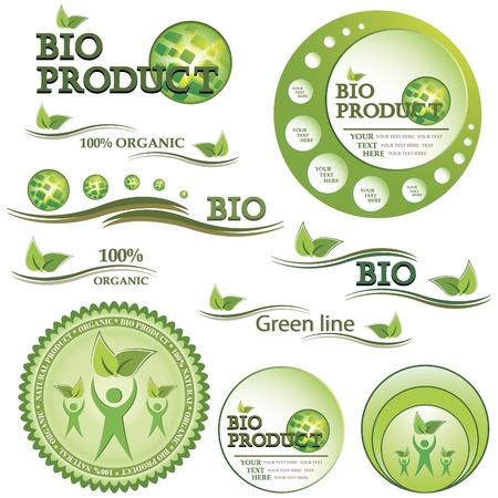 land mark: Conjunto de color verde y placas bio org�nicos e ilustraci�n vectorial etiquetas