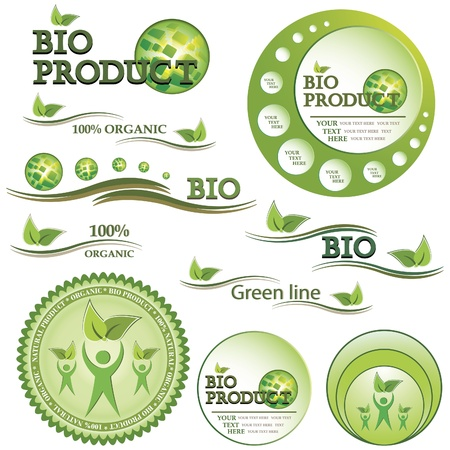 Set of green bio and organic badges and labels  Vector illustration