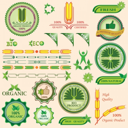 Set of bio and organic badges and labels of quality  Vector illustration  イラスト・ベクター素材
