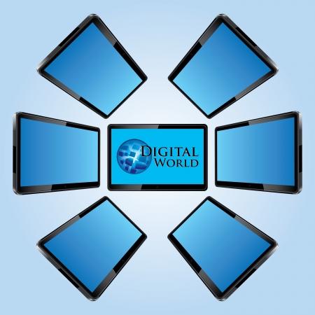 Seven modern lcd screens vector illustration Vector