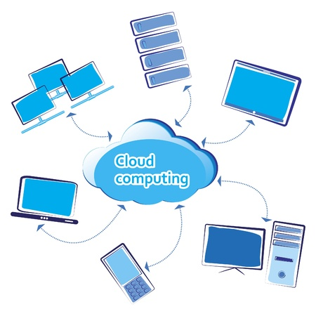 office plan: Cloud computing  Vector illustration
