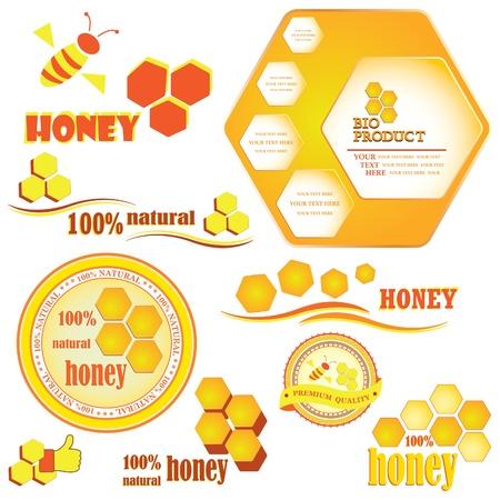abejas panal: Conjunto de panales de abejas y las divisas y la ilustraci�n vectorial etiquetas