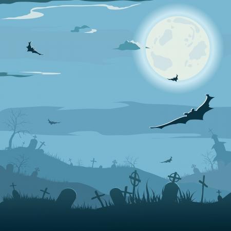 Halloween night background  Vector illustration