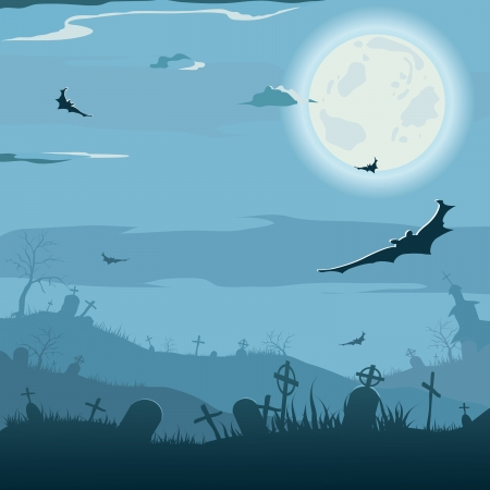 cemeteries: Halloween night background  Vector illustration