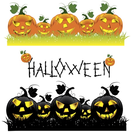 Set of Halloween pumpkins  Vector illustration Vector