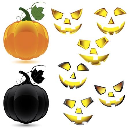 Set of makeup and pumpkin for Halloween Vector