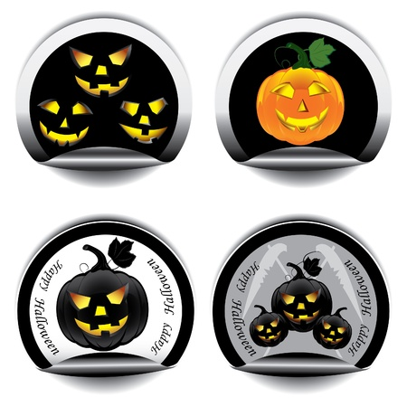 churchyard: Set of stickers for Halloween Illustration