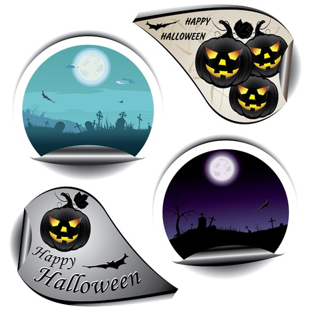 Set of stickers for Halloween Vector