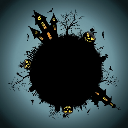 жуткий: Фон Хэллоуин ночь Иллюстрация