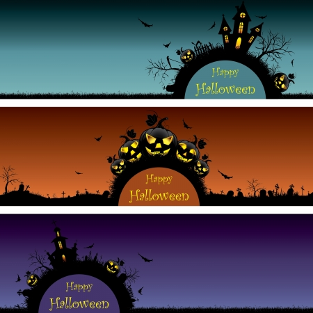 spooky graveyard: Set of Halloween banners