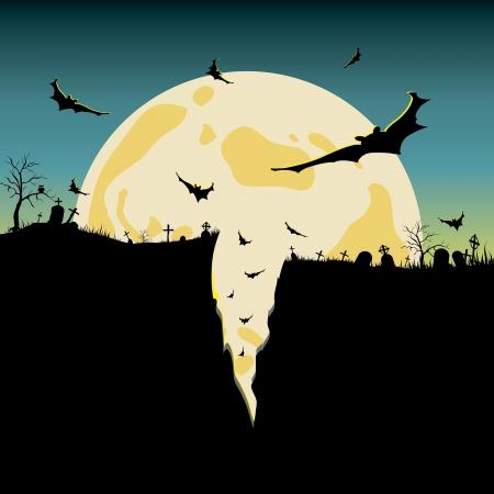 ハロウィーンの夜背景  イラスト・ベクター素材