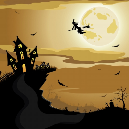 haunted house: Halloween night background