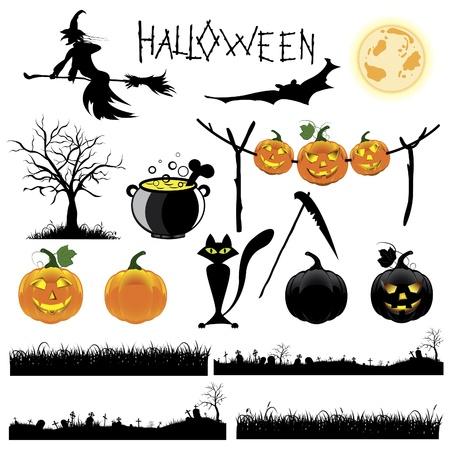 calabazas de halloween: Conjunto de ilustraci�n de Halloween
