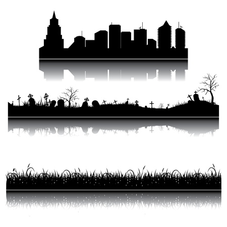 horror house: Set of city, grass and graveyard silhouettes