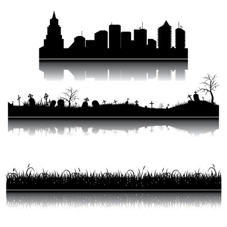 Set van stad, gras en kerkhof silhouetten