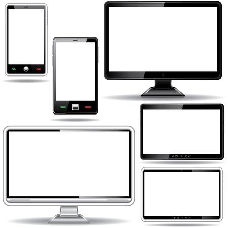 Ensemble de téléphone moniteur, tablette et intelligent isolé sur fond blanc