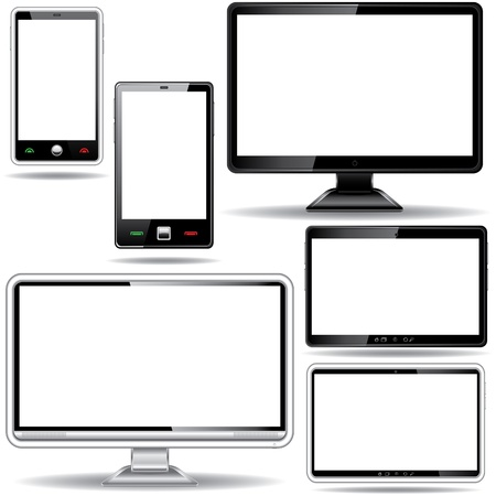 flat screen tv: Set of monitor, tablet and smart phone isolated on white background