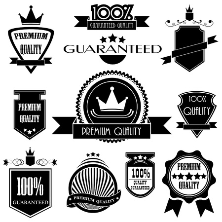 quality stamp: Set of premium quality labels with retro vintage style design