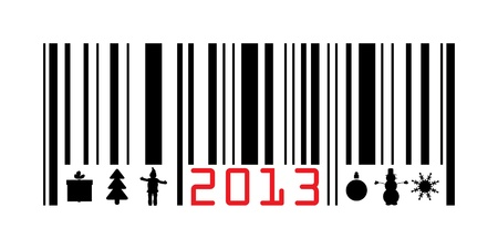 Greeting with 2013 year barcode Illustration