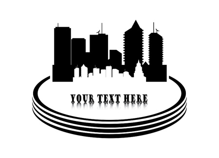 computer repair: Vector illustration of city on white background