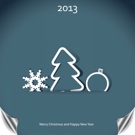 Christmas background with christmas tree and snowflake Stock Vector - 16212973