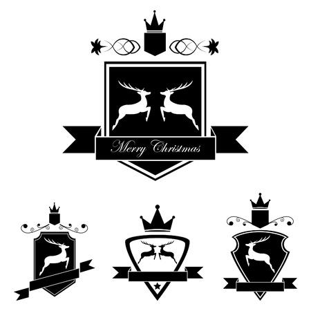 escudo de armas: Conjunto de emblema con ciervos en estilo vintage retro