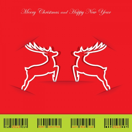 Christmas background with deer and christmas barcode Vector