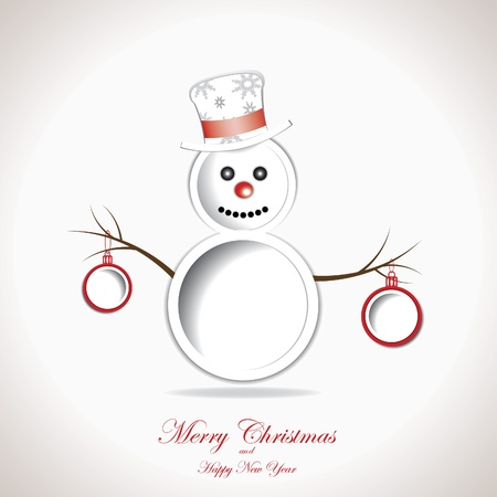 Christmas background with snowman and text place Stock Vector - 16212986