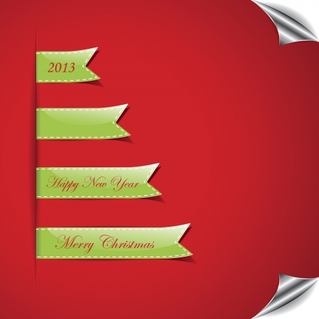Christmas background with ribbon Stock Vector - 16212988