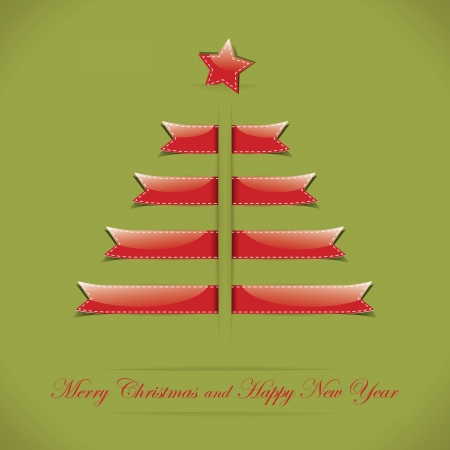 Christmas card with ribbon in form of Christmas tree Vector