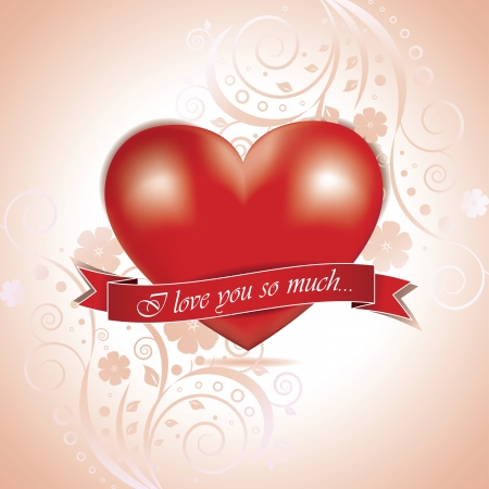 Vector Valentines day card with heart and floral Stock Vector - 16443958