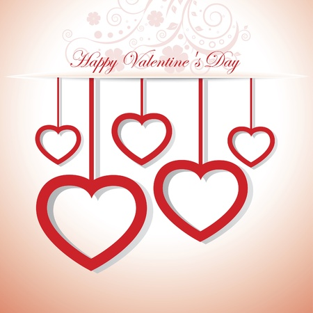 Valentines day card with hearts and floral Stock Vector - 17374301