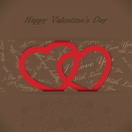 Valentines day card with hearts, text and floral Stock Vector - 17374310