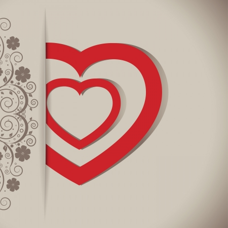 Valentines day card with hearts and floral Stock Vector - 17374302