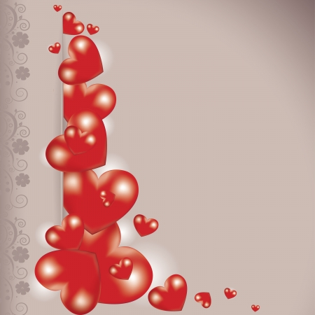 Valentines day card with hearts and floral Stock Vector - 17374327