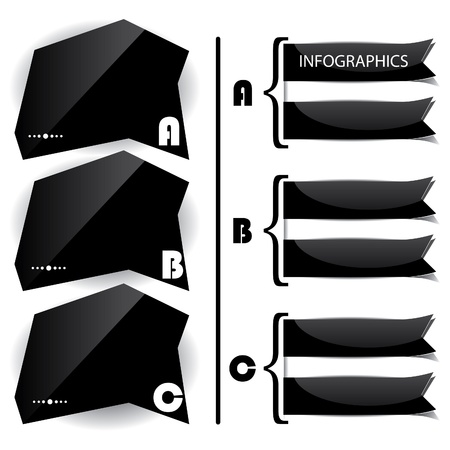 premise: Black glossy panels presentations with letters  Illustration