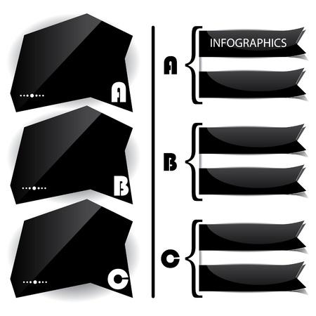 ruban noir: Noir présentations de panneaux brillants avec des lettres